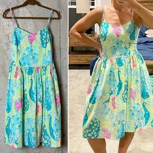 Lilly Pulitzer peacock southern belle print dress